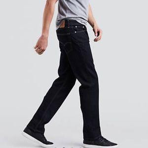 Levi's 514 34W 32 Black Straight Black Denim Jeans